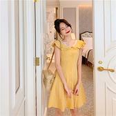 出清288 韓國風復古娃娃領小清新格紋桔梗短袖洋裝