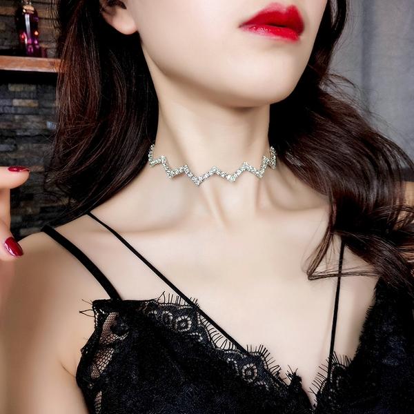 免運新款潮流歐美波浪形頸鏈短款項鏈女頸帶氣質日韓網紅鎖骨鏈