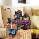 居家日用收納裝飾擺件樹脂釣魚黑熊收納盒 -huix144