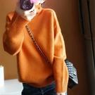 羊毛衫 新款橘色高領羊絨衫女加厚套頭毛衣...