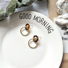 【NiNi Me】韓系耳環 氣質優雅玳瑁色圓圈耳環 耳環 N0594