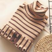 袖子紐扣條紋彈力針織衫高領短款百搭修身打底衫薄款毛衣秋冬女Mandyc
