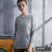 【JEEP】女裝 初秋甜美系星星貼布長袖TEE  (灰色)