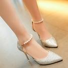 涼鞋女夏季2021新款韓版百搭珍珠一字扣帶尖頭性感細跟高跟鞋單鞋 果果輕時尚