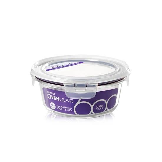 韓國KOMAX 耐熱玻璃保鮮盒-圓型(400ml) -環保餐具保溫便當盒儲物盒