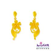 威世登 黃金套組花型垂吊式耳環 金重約1.64~1.66錢(含黃金耳束) 送禮推薦 生日 情人節 GJ00158F-FXX-EHX