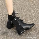 黑色馬丁靴女2020新款百搭英倫風粗跟短靴女春秋單靴子女冬瘦瘦靴 樂活生活館