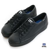 Keds 新竹皇家 TRIPLE KICK LTHR  黑色 厚底3.5CM 皮質 休閒鞋 女款 NO.I7767