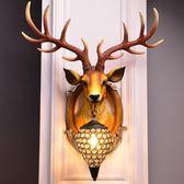 北歐美式復古創意客廳餐廳走廊過道背景墻個性鹿角墻壁燈