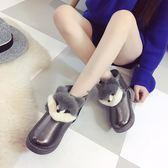 雪地靴冬季新款靴子女鞋橡膠PU雪地靴套筒平底人造短毛絨圓頭短筒20 全館免運