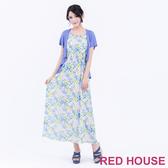 【RED HOUSE 蕾赫斯】滿版花朵假兩件長洋裝(共2色)