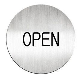 迪多Deflect-o 鋁質圓形貼牌-英文OPEN指示 611110C
