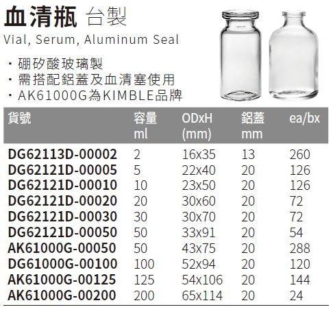 《台製》血清瓶 Vial, Serum, Aluminum Seal