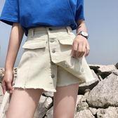 2018新款韓版假兩件寬鬆高腰顯瘦A字裙褲裙闊腿學生百搭牛仔短褲