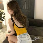 韓版chic風性感大露背無袖撞色邊短款背心無袖T恤上衣女 果果輕時尚