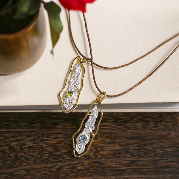 藝術素銀橄欖石托帕石 文藝設計感純銀項鏈
