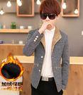 韓版男士修身呢子外套小西裝DL12408『黑色妹妹』