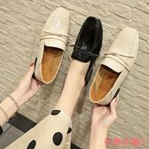 單鞋L小皮鞋I女平底鞋春鞋子女復古低跟網紅兩穿單鞋