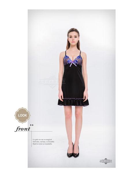 情趣用品-女用商品-中大尺碼 網紗刺繡美背造型性感睡衣-黑色