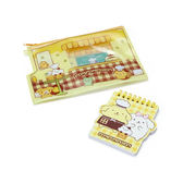 Sanrio 布丁狗甜點餐車造型PVC扁平筆袋&迷你線圈便條本★funbox生活用品★_338265N