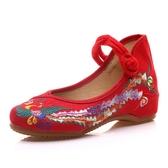 漢服鞋婚鞋老北京布鞋女春季新款民族風繡花鞋紅色跳舞鞋百搭 草莓妞妞