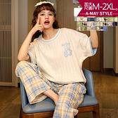 加大碼兩件式居家服-可愛印花睡衣長褲套裝(M-2XL)