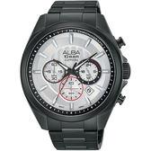 ALBA 雅柏 即動宣言計時手錶-銀x黑/45mm VD53-X219SD(AT3829X1)