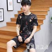 男士冰絲睡衣 新款2019夏季休閒薄款可外穿家居服套裝 BT4997『寶貝兒童裝』