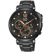 ALBA Tokyo Design 原創酷時尚計時手錶-黑X玫瑰金