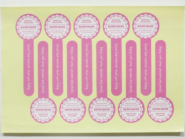10入 繽紛 HAND MADE 裝飾貼紙 封口貼紙 烘焙貼紙