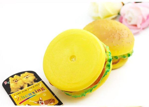 【狐狸跑跑】狗玩具 發聲怪叫寵物玩具 漢堡響聲糖膠玩具 搪膠發聲漢堡包WJ002800