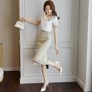 西裝兩件套 中長款女人味職業裝女神風雪紡套裝女夏季洋氣心機兩件套-Ballet朵朵