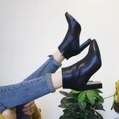 新款歐美百搭黑色短筒靴高跟靴子女短靴踝靴粗跟女靴·蒂小屋