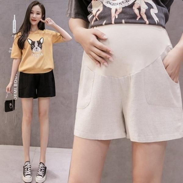 漂亮小媽咪 韓系 托腹短褲 【P1008】亞麻 高腰 低腰 托腹 棉麻 孕婦短褲 運動風 短褲