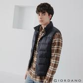 【GIORDANO】 男裝立領雙鈕扣口袋羽絨背心 - 01 標誌黑
