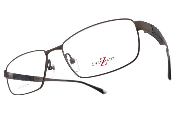 CHARMANT-Z 光學眼鏡 CZT19811 BR (霧棕) 鈦系列方格造型鏡腳 # 金橘眼鏡