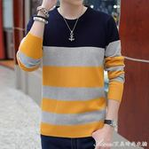 秋冬季男士長袖t恤毛衣秋衣上衣服男秋裝圓領條紋針織打底衫 艾美時尚衣櫥