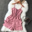 複古時尚綁帶收腰吊帶裙女裝百搭素色顯瘦短款連身裙褲洋裝
