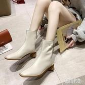 短靴2019年秋款高跟馬丁靴女酷增高短靴女春秋單靴女潮瘦瘦靴YJ984【宅男時代城】