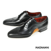 【MAGNANNI】翼紋雕花德比紳士皮鞋 黑色(14603-BL)