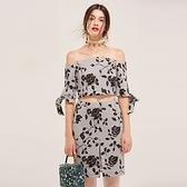 露肩一字領上衣+短裙(兩件套)-時尚優雅玫瑰印花女裙裝73lk35[巴黎精品]