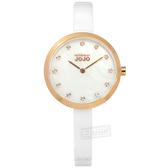 NATURALLY JOJO / JO96909-81R / 優雅簡約 珍珠母貝 藍寶石水晶玻璃 晶鑽刻度 陶瓷手錶 白x玫瑰金框 33mm