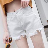 牛仔短褲 日韓社會女不規則超高腰毛邊牛仔褲短褲直筒褲 森雅誠品
