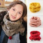 兒童毛線圍巾冬季男女寶寶套頭圍脖小孩針織保暖毛球脖套韓版防風解憂雜貨鋪