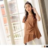 《AB14853》台灣製造。高含棉圓領打褶不對稱上衣 OrangeBear