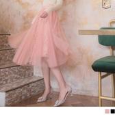 《CA1705》純色蕾絲網紗腰鬆緊中長裙 OrangeBear