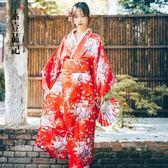 年末鉅惠 日本傳統女士長款和服正裝櫻花改良和服浴衣演出寫真和服