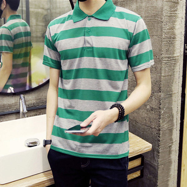 Mao  最新款日韓新品潮流粗條紋造型短袖POLO衫