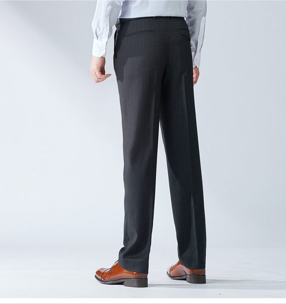 極品西服 英倫風魅力款彈力直條打褶西褲_黑斜紋(BW736-2)