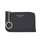 KATE SPADE 金屬字母防刮皮革L型拉鍊票卡夾鑰匙圈(黑色)